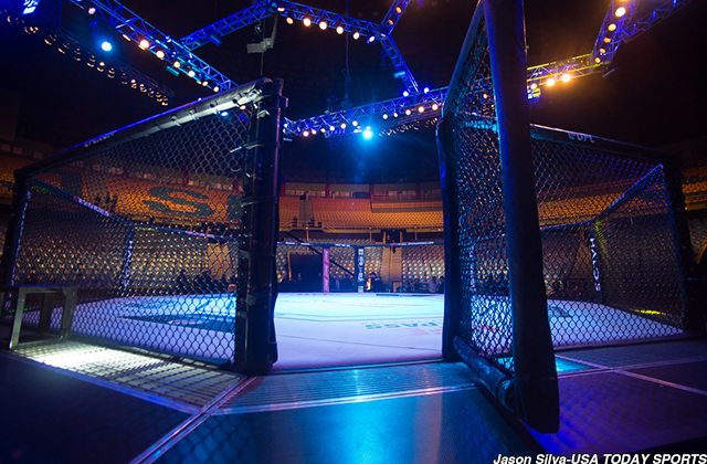 Nov 7, 2015; Sao Paulo, SP, Brazil; A view of the octagon ring before UFC Fight Night at Ibirapuera Gymnasium. Mandatory Credit: Jason Silva-USA TODAY Sports