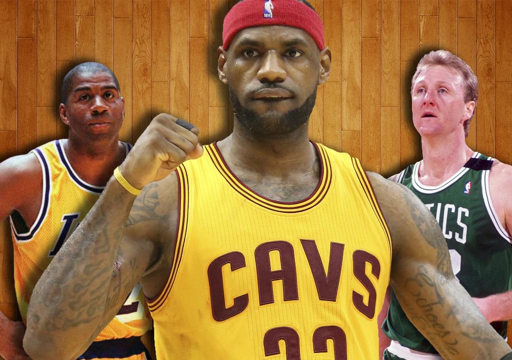 LeBron James, Magic Johnson and Larry Bird