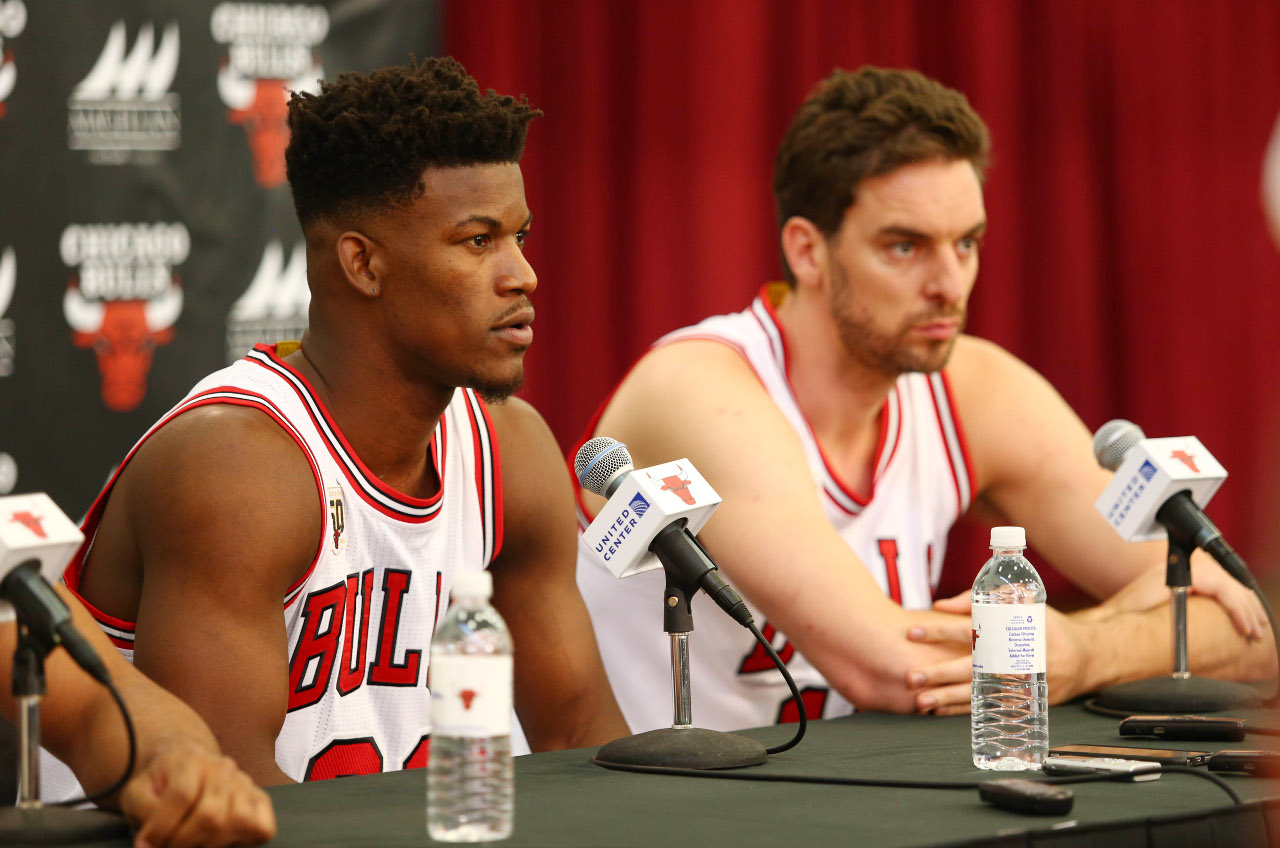 Sep 28, 2015; Chicago, IL, USA; Chicago Bulls guard Jimmy Butler (21) speaks during media day at The Advocate Center. Mandatory Credit: Caylor Arnold-USA TODAY Sports