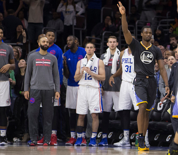 PHILADELPHIA, PA - JANUARY 30: Harrison Barnes #40 of the Golden State Warriors reacts after making the game winning shot in front of the Philadelphia 76ers bench on January 30, 2016 at the Wells Fargo Center in Philadelphia, Pennsylvania. The Warriors defeated the 76ers 108-105. NOTE TO USER: User expressly acknowledges and agrees that, by downloading and or using this photograph, User is consenting to the terms and conditions of the Getty Images License Agreement. (Photo by Mitchell Leff/Getty Images)