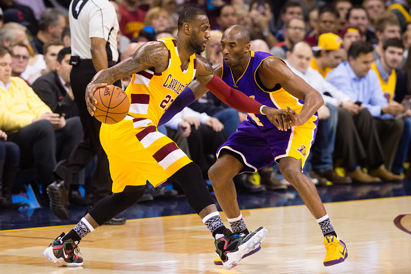 CLEVELAND, OH - FEBRUARY 10: Kobe Bryant #24 of the Los Angeles Lakers guards LeBron James #23 of the Cleveland Cavaliers during the first half at Quicken Loans Arena on February 10, 2016 in Cleveland, Ohio. NOTE TO USER: User expressly acknowledges and agrees that, by downloading and/or using this photograph, user is consenting to the terms and conditions of the Getty Images License Agreement. Mandatory copyright notice. (Photo by Jason Miller/Getty Images) *** Local Caption ***Kobe Bryant; LeBron James