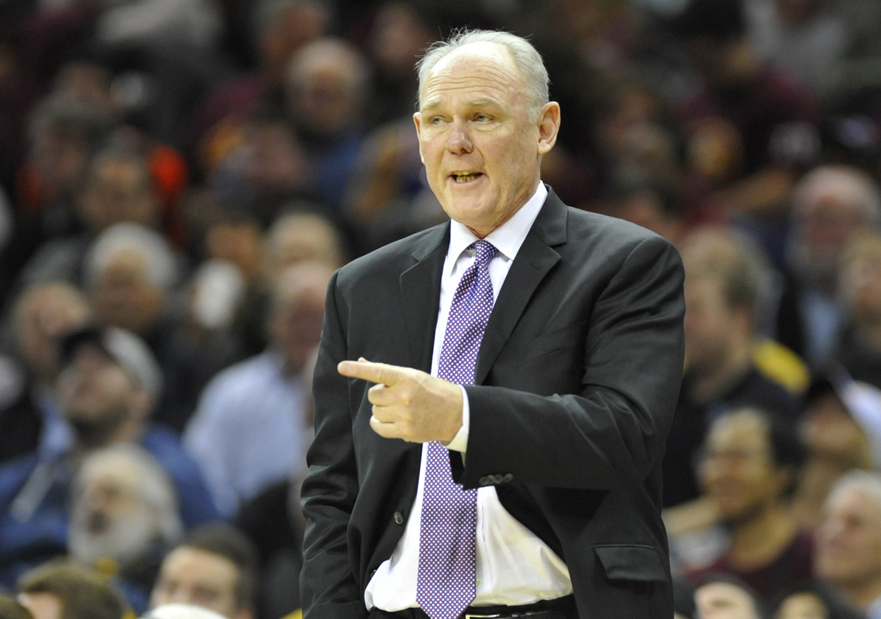 Feb 8, 2016; Cleveland, OH, USA; Sacramento Kings head coach George Karl reacts in the second quarter against the Cleveland Cavaliers at Quicken Loans Arena. Mandatory Credit: David Richard-USA TODAY Sports