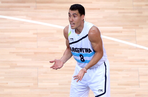 LONDON, ENGLAND - AUGUST 12: Pablo Prigioni #8 of Argentina reacts to a foul call during the Men's Basketball bronze medal game between Russia and Argentina on Day 16 of the London 2012 Olympics Games at North Greenwich Arena on August 12, 2012 in London, England. (Photo by Streeter Lecka/Getty Images)