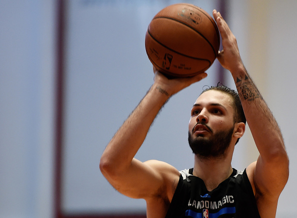 RIO DE JANEIRO, BRAZIL - OCTOBER 15: Evan Fournier of Orlando Magic in action during a NBA Global Games Rio 2015 - Practice Day on October 15, 2015 in Rio de Janeiro, Brazil. (Photo by Buda Mendes/Getty Images)