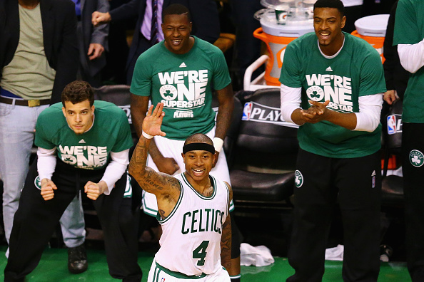<> during overtime of Game Four of the Eastern Conference Quarterfinals during the 2016 NBA Playoffs at TD Garden on April 24, 2016 in Boston, Massachusetts. The Celtics defeat the Hawks 104-95. NOTE TO USER User expressly acknowledges and agrees that, by downloading and or using this photograph, user is consenting to the terms and conditions of the Getty Images License Agreement.