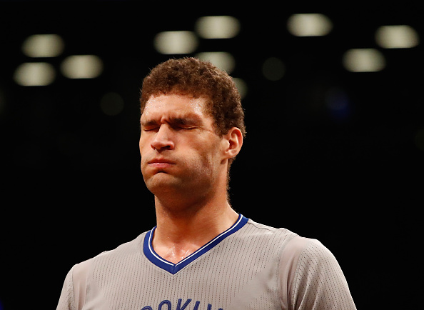 NEW YORK, NY - MARCH 22: Brook Lopez #11 of the Brooklyn Nets reacts after shooting an airball in the final seconds against a 105-100 loss to the Charlotte Hornets during their game at the Barclays Center on March 22, 2016 in New York City. NOTE TO USER: User expressly acknowledges and agrees that, by downloading and/or using this Photograph, user is consenting to the terms and conditions of the Getty Images License Agreement. (Photo by Al Bello/Getty Images)