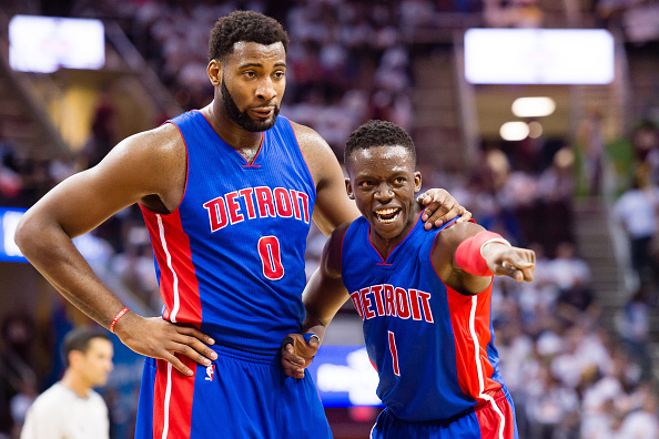CLEVELAND, OH - APRIL 17: Andre Drummond #0 and Reggie Jackson #1 of the Detroit Pistons talk during a time out in the second half of the NBA Eastern Conference quarterfinals at Quicken Loans Arena on April 17, 2016 in Cleveland, Ohio. The Cavaliers defeated the Pistons 106-101. NOTE TO USER: User expressly acknowledges and agrees that, by downloading and or using this photograph, User is consenting to the terms and conditions of the Getty Images License Agreement. (Photo by Jason Miller/Getty Images) *** Local Caption ***