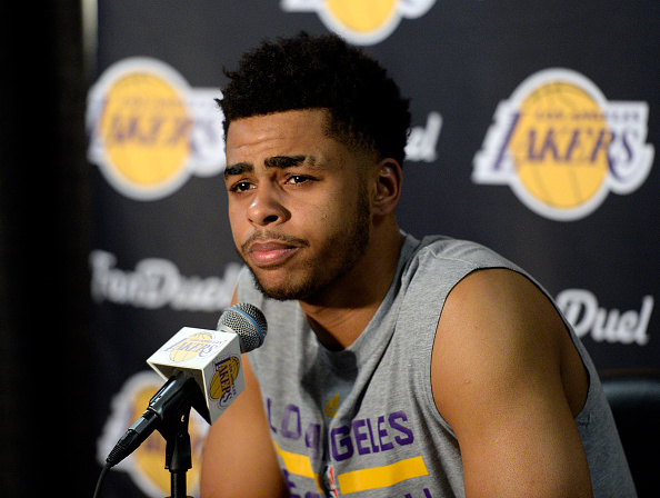 LOS ANGELES, CA - MARCH 30: D'Angelo Russell #1 of the Los Angeles Lakers speaks during a news conference to discuss the controversy with teammate Nick Young before the start of the NBA game against the Miami Heat at Staples Center March 30, 2016, in Los Angeles, California. NOTE TO USER: User expressly acknowledges and agrees that, by downloading and or using the photograph, User is consenting to the terms and conditions of the Getty Images License Agreement. (Photo by Kevork Djansezian/Getty Images)