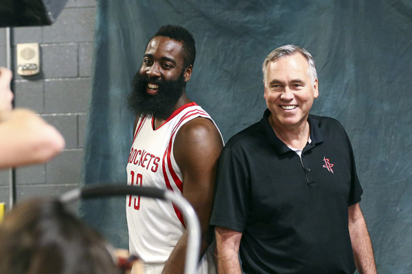 Sep 23, 2016; Houston, TX, USA; Houston Rockets guard James Harden (13) and Houston Rockets head coach Mike D'Antoni pose for a picture during media day at Toyota Center. Mandatory Credit: Troy Taormina-USA TODAY Sports