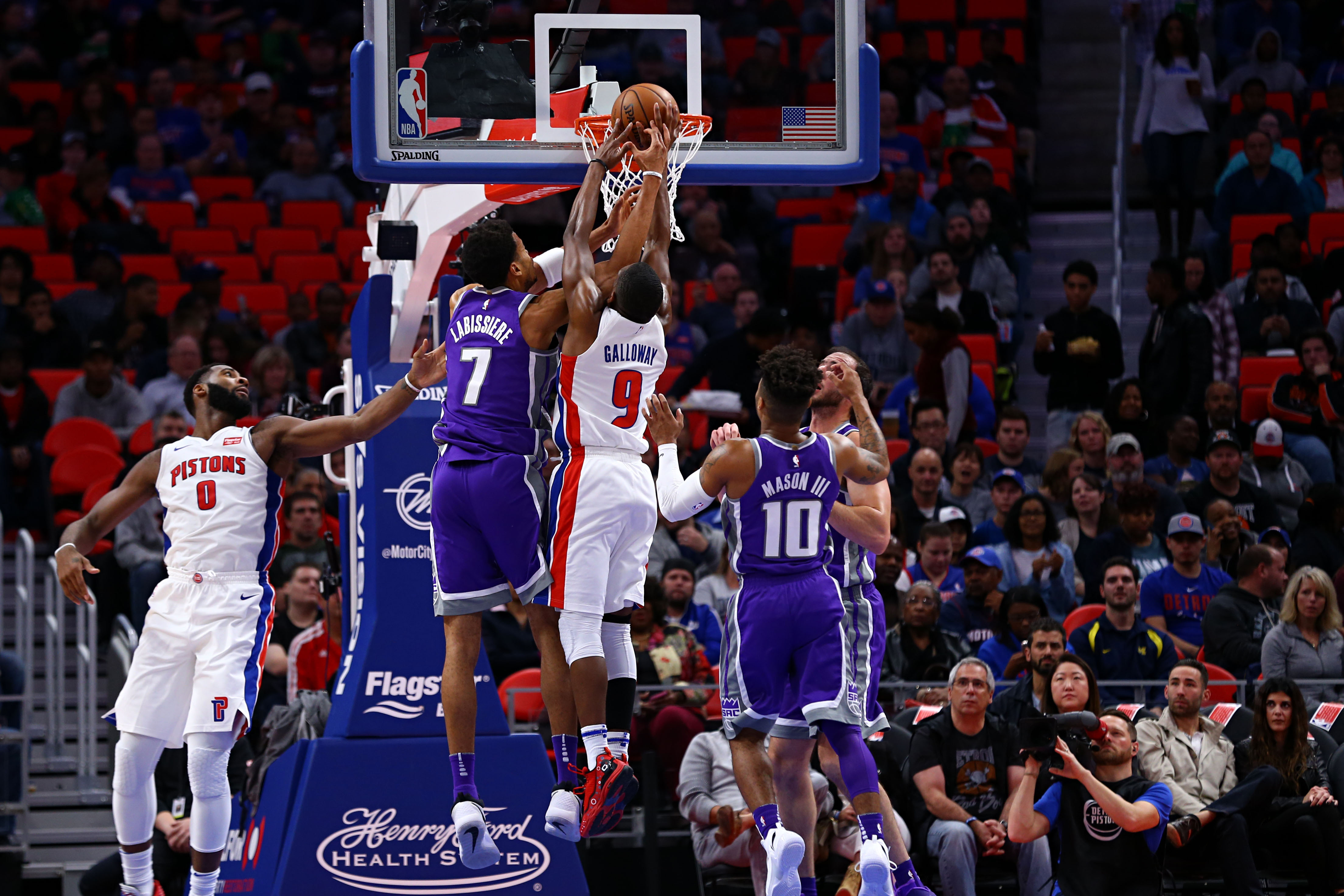 Langston Galloway (9) was wearing the 495 Lo Fiery Red sneakers against the Sacramento Kings (Aaron Doster-USA TODAY Sports