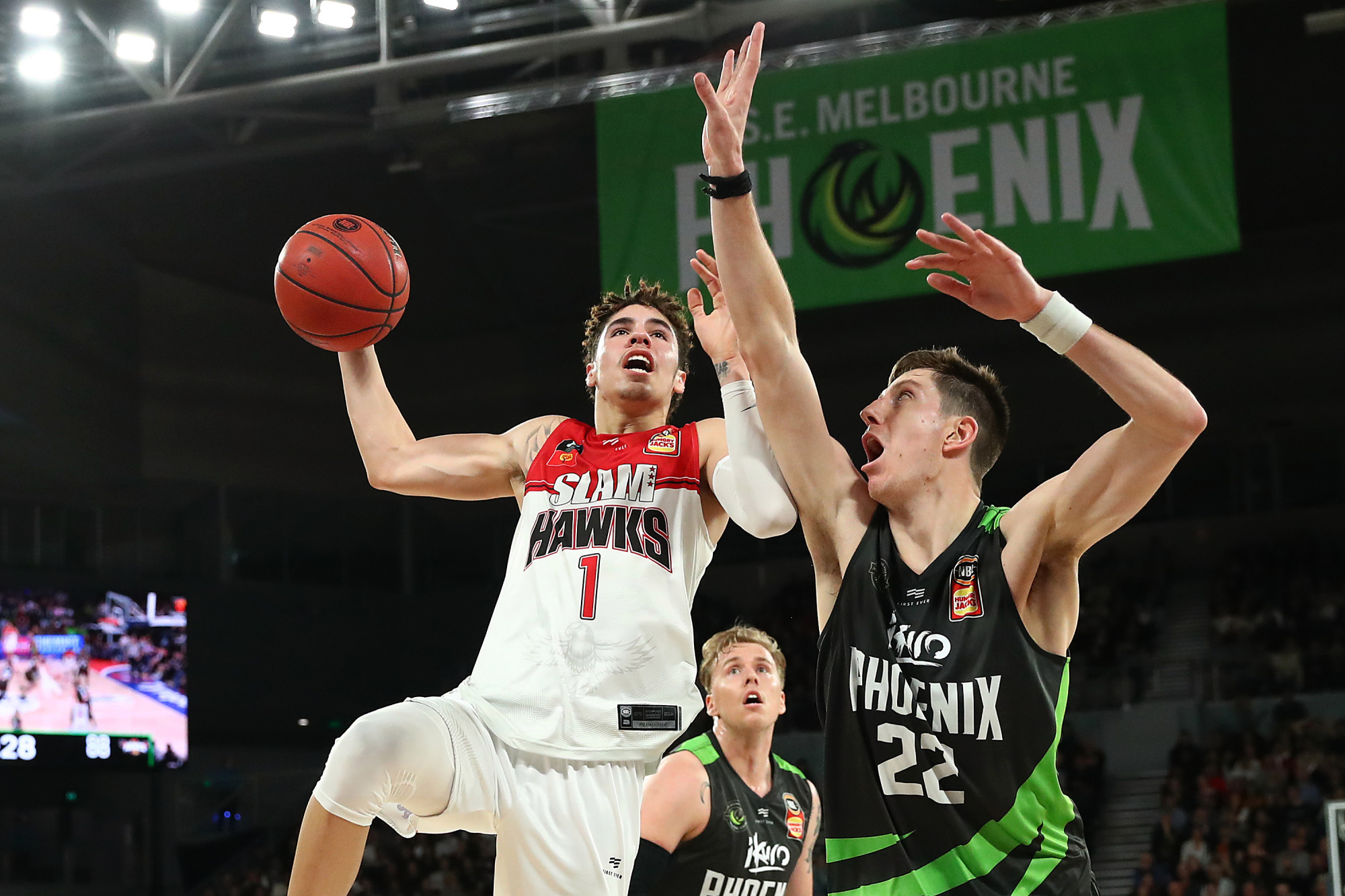 MELBOURNE, AUSTRALIA - OCTOBER 19: LaMelo Ball of the Hawks drives to the basket during the round three NBL match between the South East Melbourne Phoenix and the Illawarra Hawks on October 19, 2019 in Melbourne, Australia.