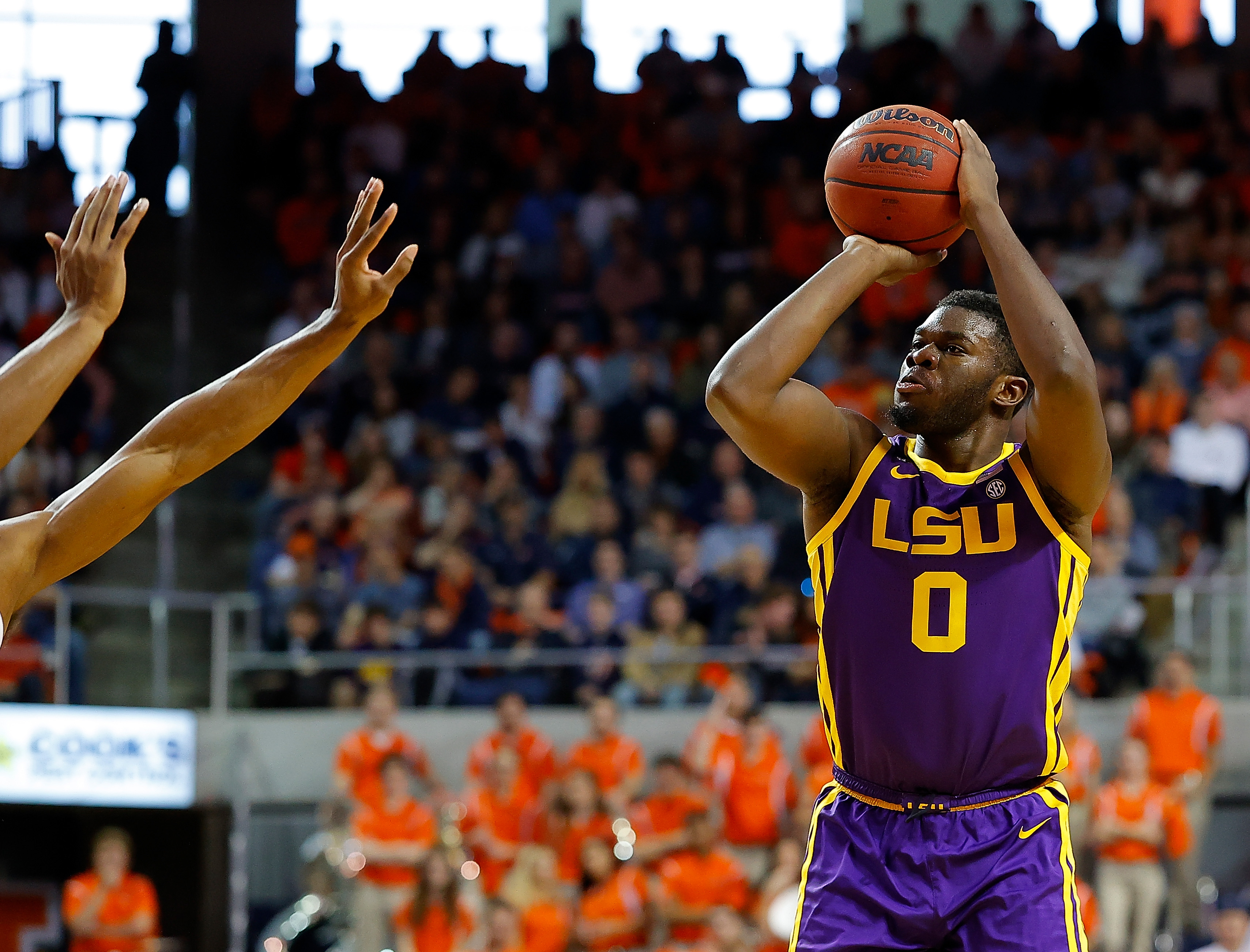 AUBURN, ALABAMA - FEBRUARY 08: Darius Days #0 of the LSU Tigers shoots a three-point basket against the Auburn Tigers in the first half at Auburn Arena on February 08, 2020 in Auburn, Alabama.