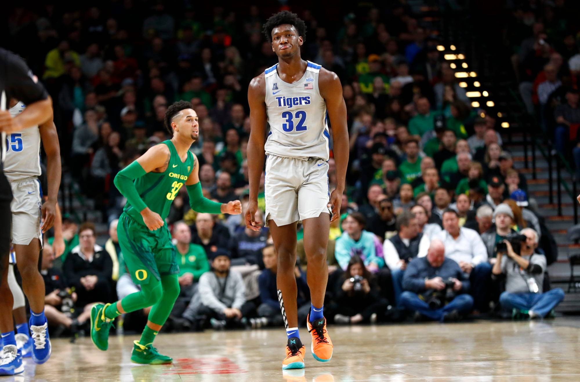 Memphis Tigers center James Wiseman shows his frustration during their 82-74 loss to the Oregon Ducks at the Moda Center in Portland, Ore. on Tuesday, Nov. 12, 2019.