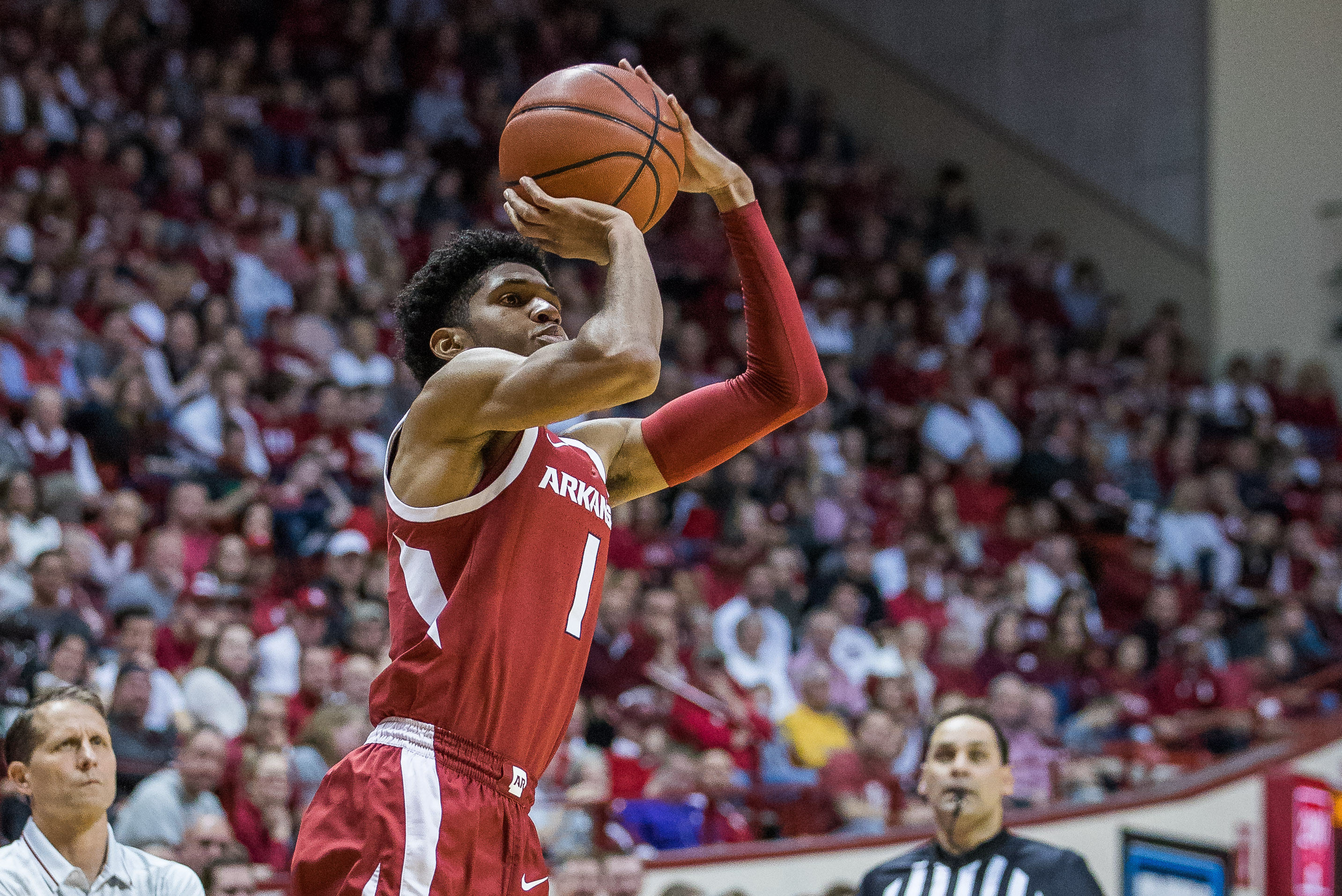 Dec 29, 2019; Bloomington, Indiana, USA; Arkansas Razorbacks guard Isaiah Joe (1) shoots the ball in the second half against the Indiana Hoosiers at Simon Skjodt Assembly Hall. Mandatory Credit: