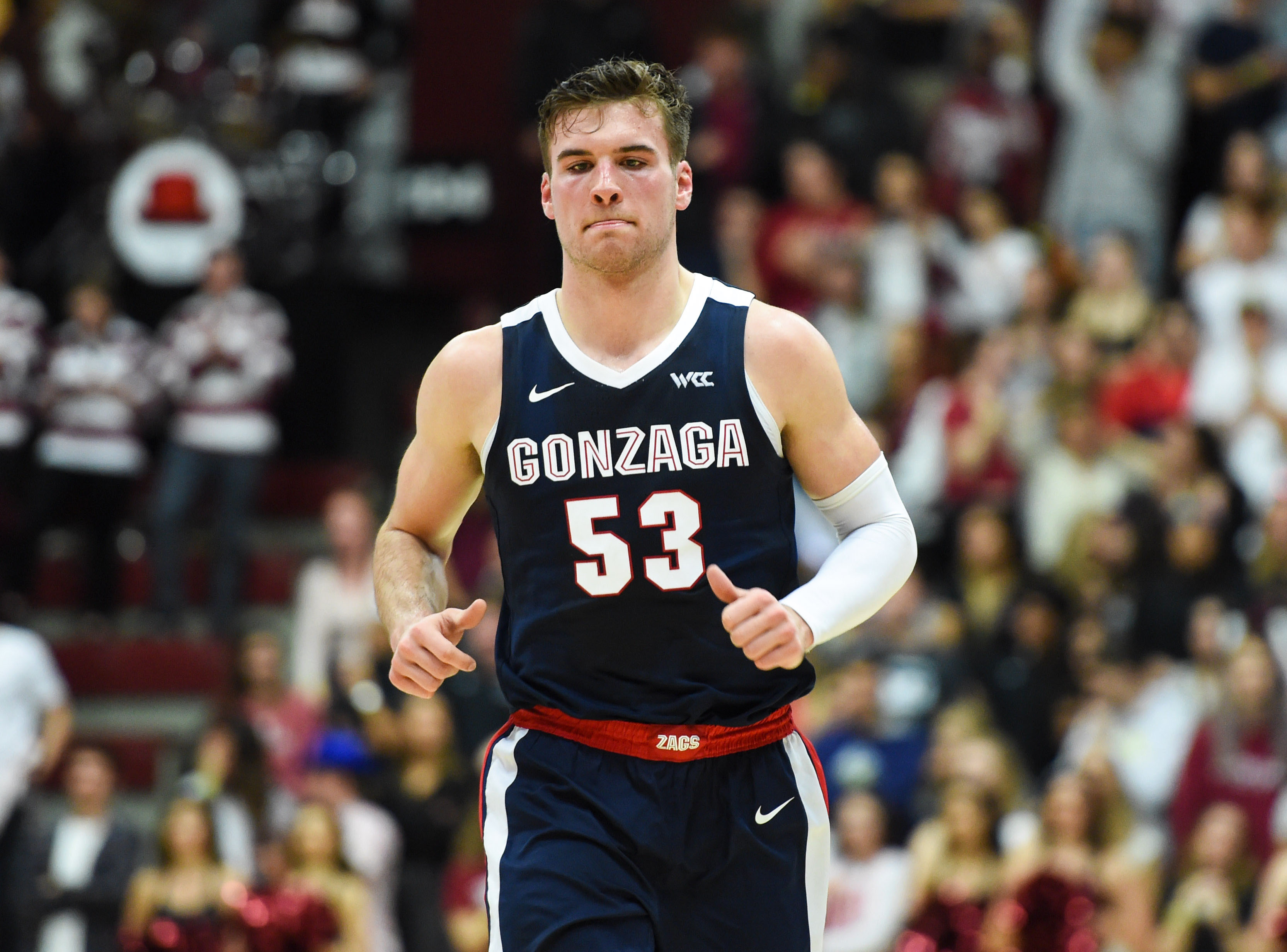 Jan 30, 2020; Santa Clara, California, USA; Gonzaga Bulldogs forward Corey Kispert (53) during the first half against the Santa Clara Broncos at Leavey Center. Mandatory Credit: