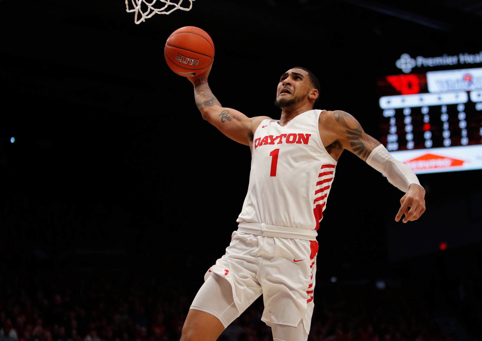 Feb 11, 2020; Dayton, Ohio, USA; Dayton Flyers forward Obi Toppin (1) dunks against the Rhode Island Rams during the first half at University of Dayton Arena.