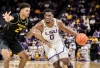 Feb 11, 2020; Baton Rouge, Louisiana, USA; LSU Tigers forward Darius Days (0) dribbles against Missouri Tigers forward Tray Jackson (2) during the first half at Maravich Assembly Center.