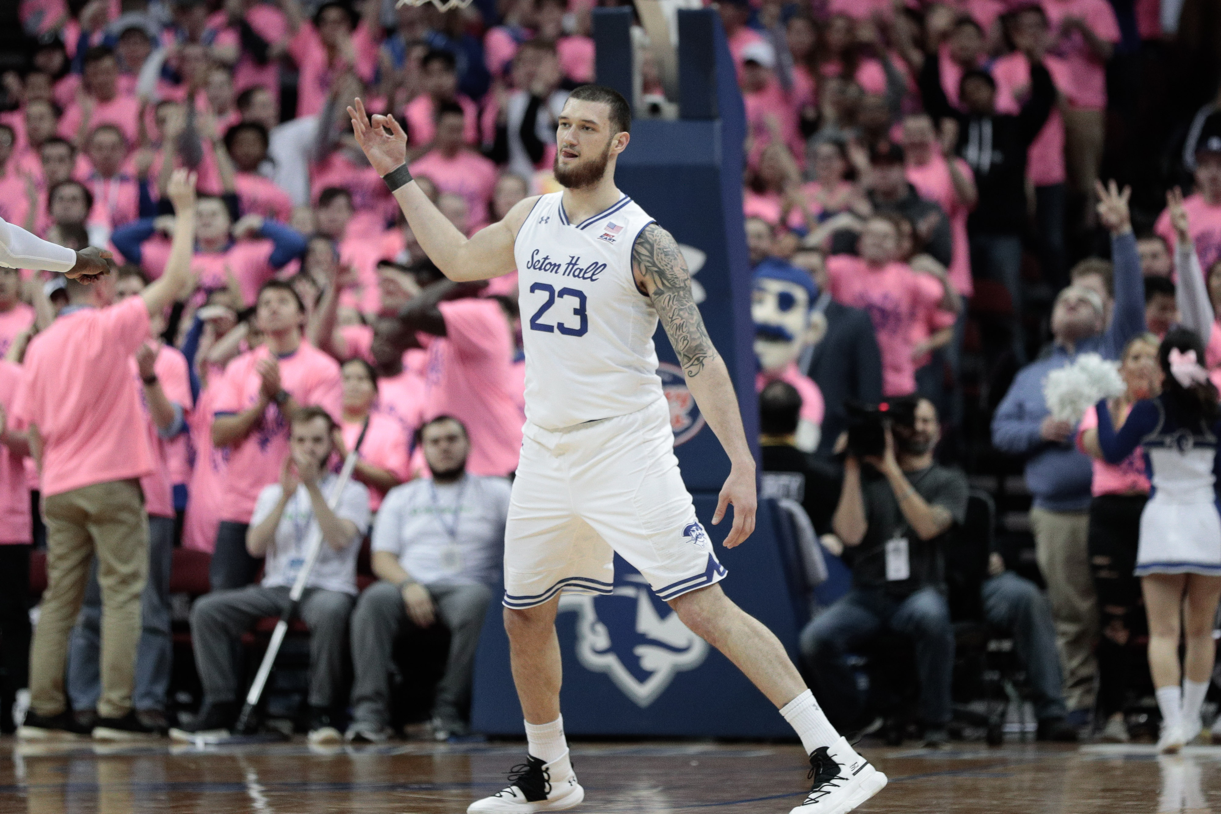 Feb 19, 2020; Newark, New Jersey, USA; Seton Hall Pirates forward Sandro Mamukelashvili (23) reacts after scoring a three point basket during the second half against the Butler Bulldogs at Prudential Center.
