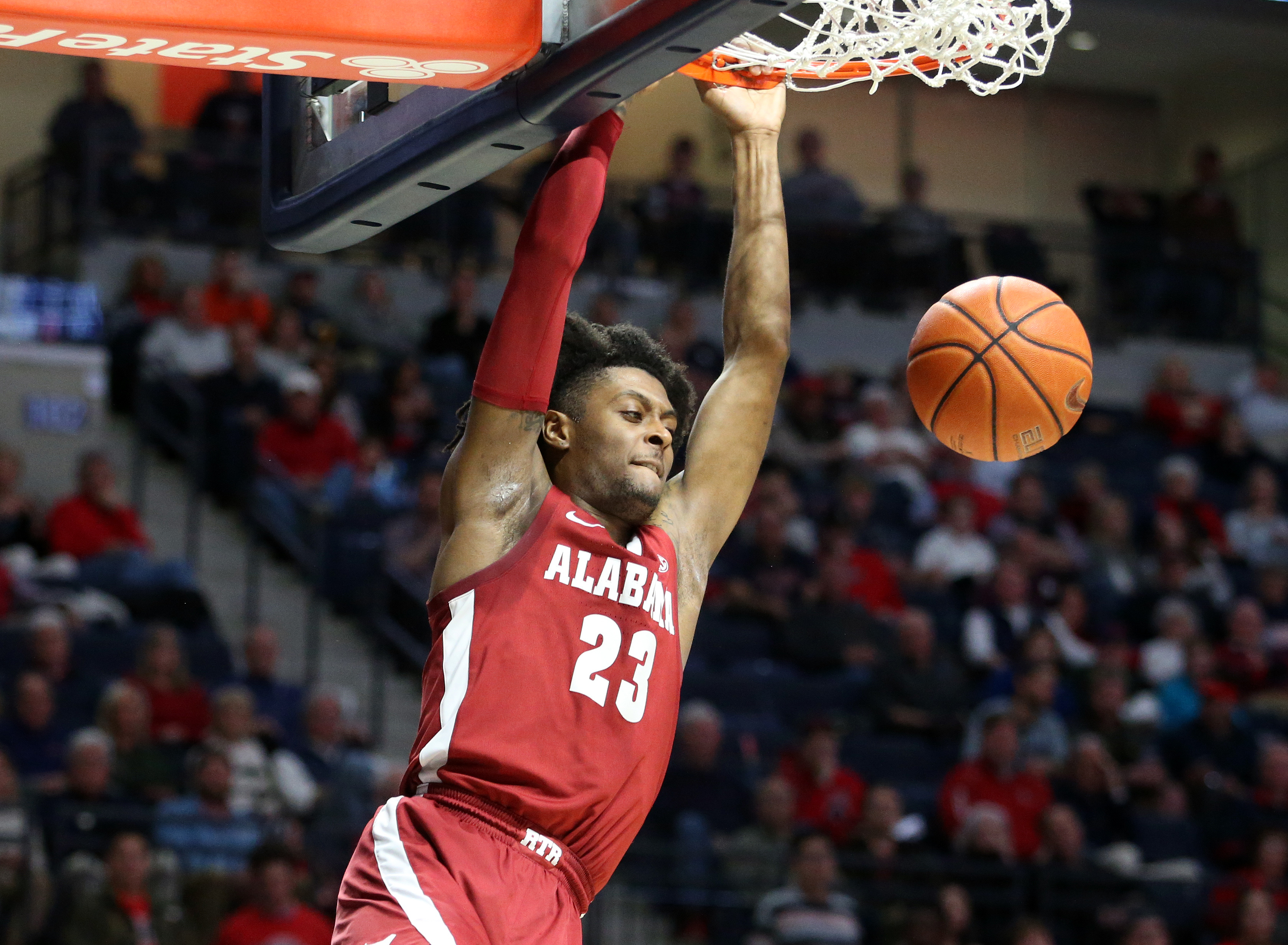 Feb 22, 2020; Oxford, Mississippi, USA; Alabama Crimson Tide guard John Petty Jr. (23) dunks during the first half against the Mississippi Rebels at The Pavilion at Ole Miss. Mandatory Credit: