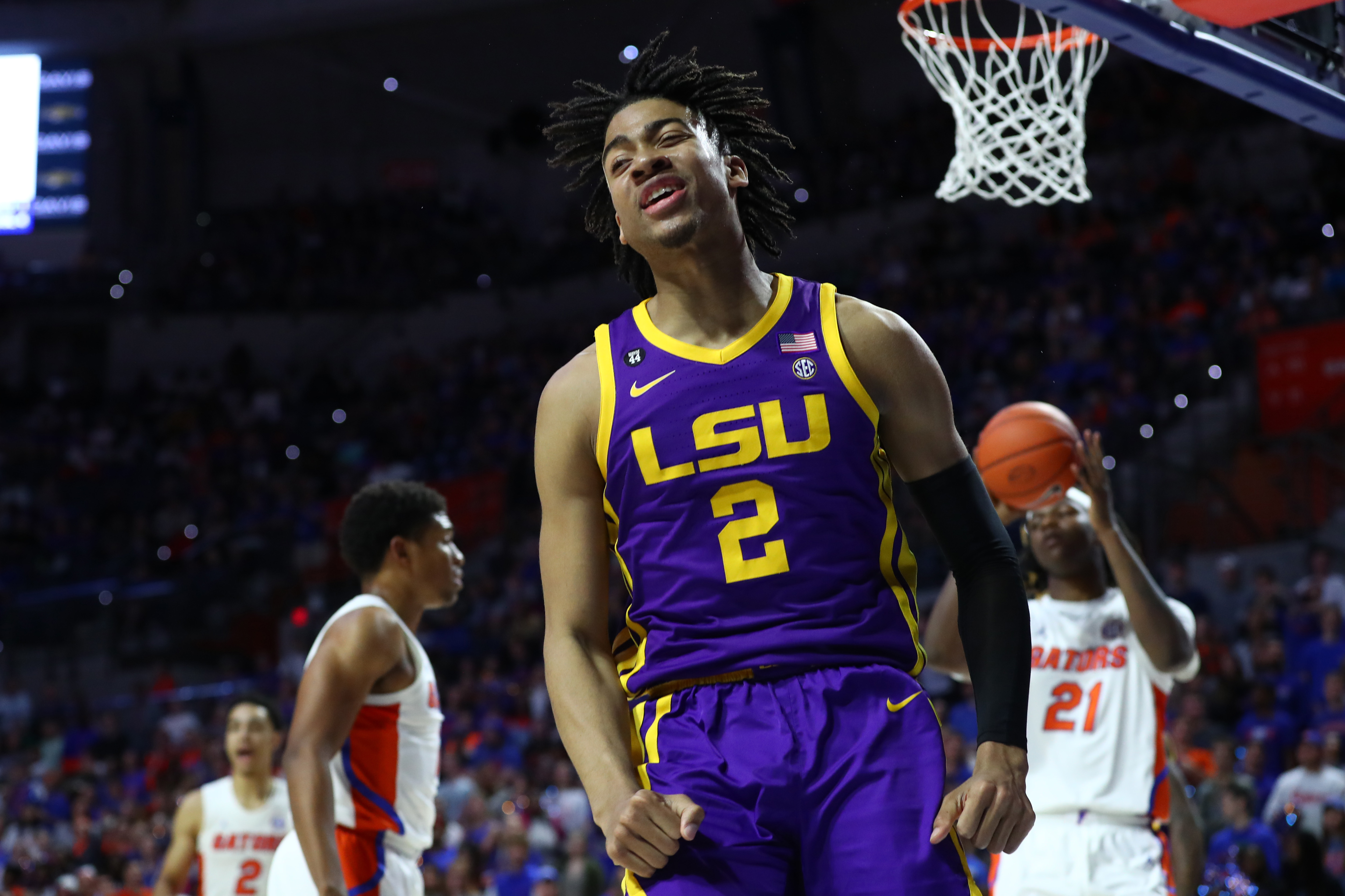 Feb 26, 2020; Gainesville, Florida, USA;LSU Tigers forward Trendon Watford (2) reacts after being fouled against the Florida Gators during the first half at Exactech Arena.