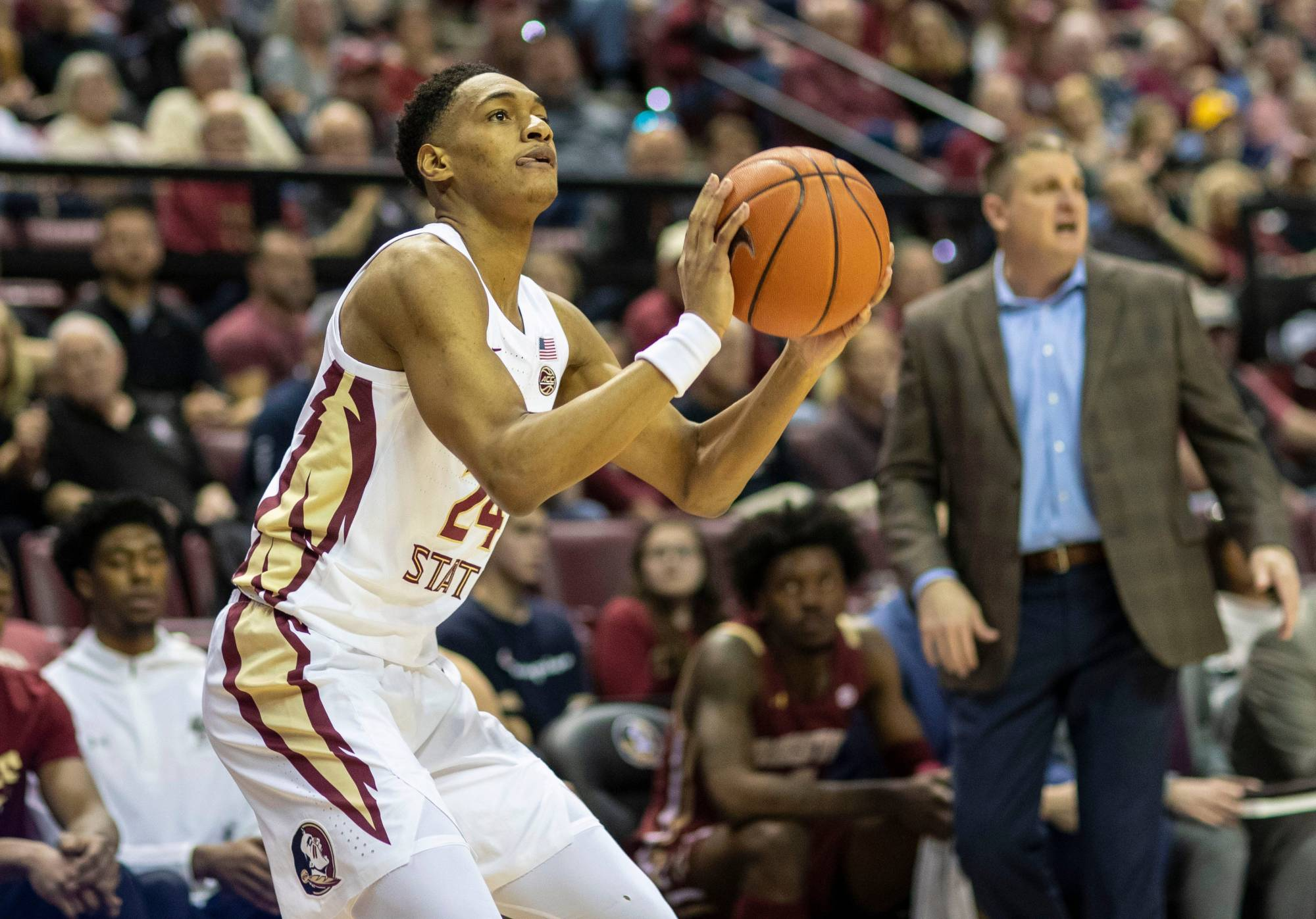 Florida State Seminoles guard Devin Vassell (24) lines up his three point shot. The Florida State Seminoles beat the Boston College Eagles 80-62, Saturday, March 7, 2020. The Seminoles clinched the ACC regular season title.