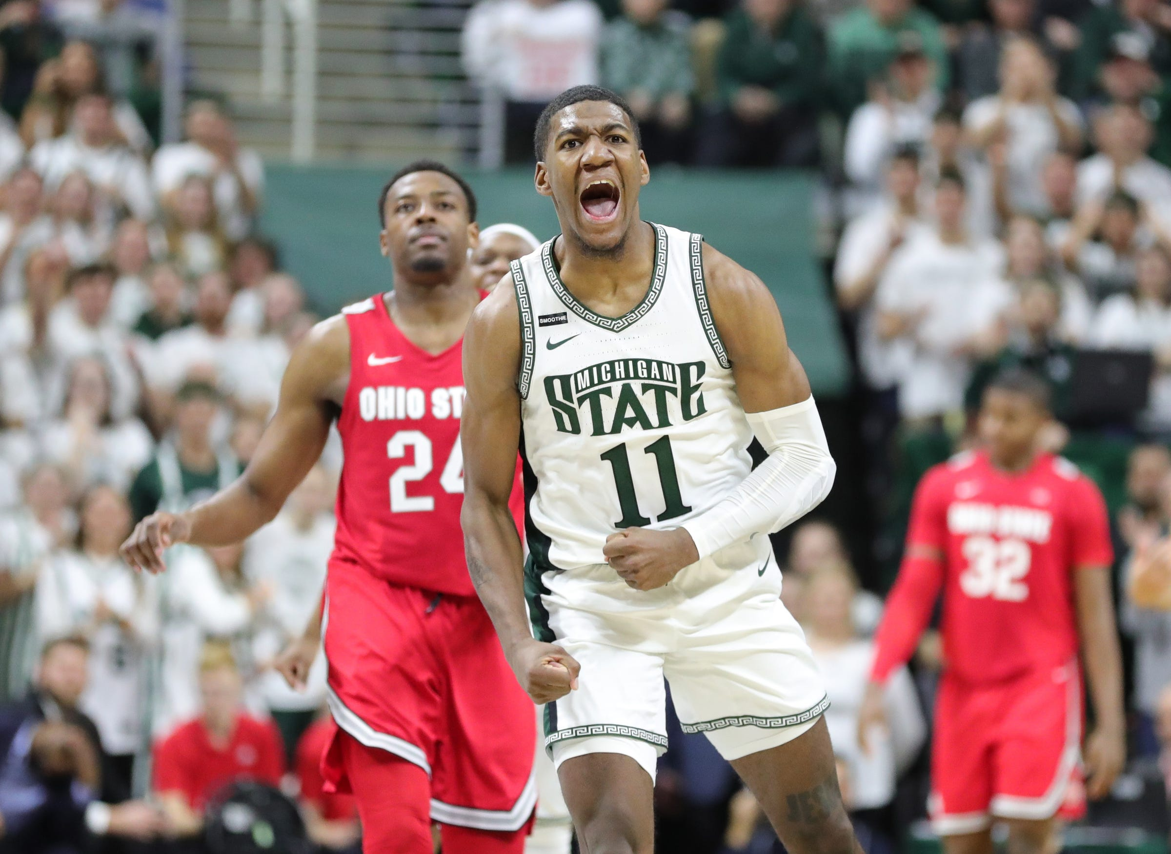 Michigan State forward Aaron Henry celebrates during the 80-69 win against Ohio State on Sunday, March 8, 2020 at the Breslin Center. Michigan State