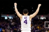 Mar 7, 2020; Baton Rouge, Louisiana, USA; LSU Tigers guard Skylar Mays (4) reacts to a play against Georgia Bulldogs during the second half at Maravich Assembly Center.