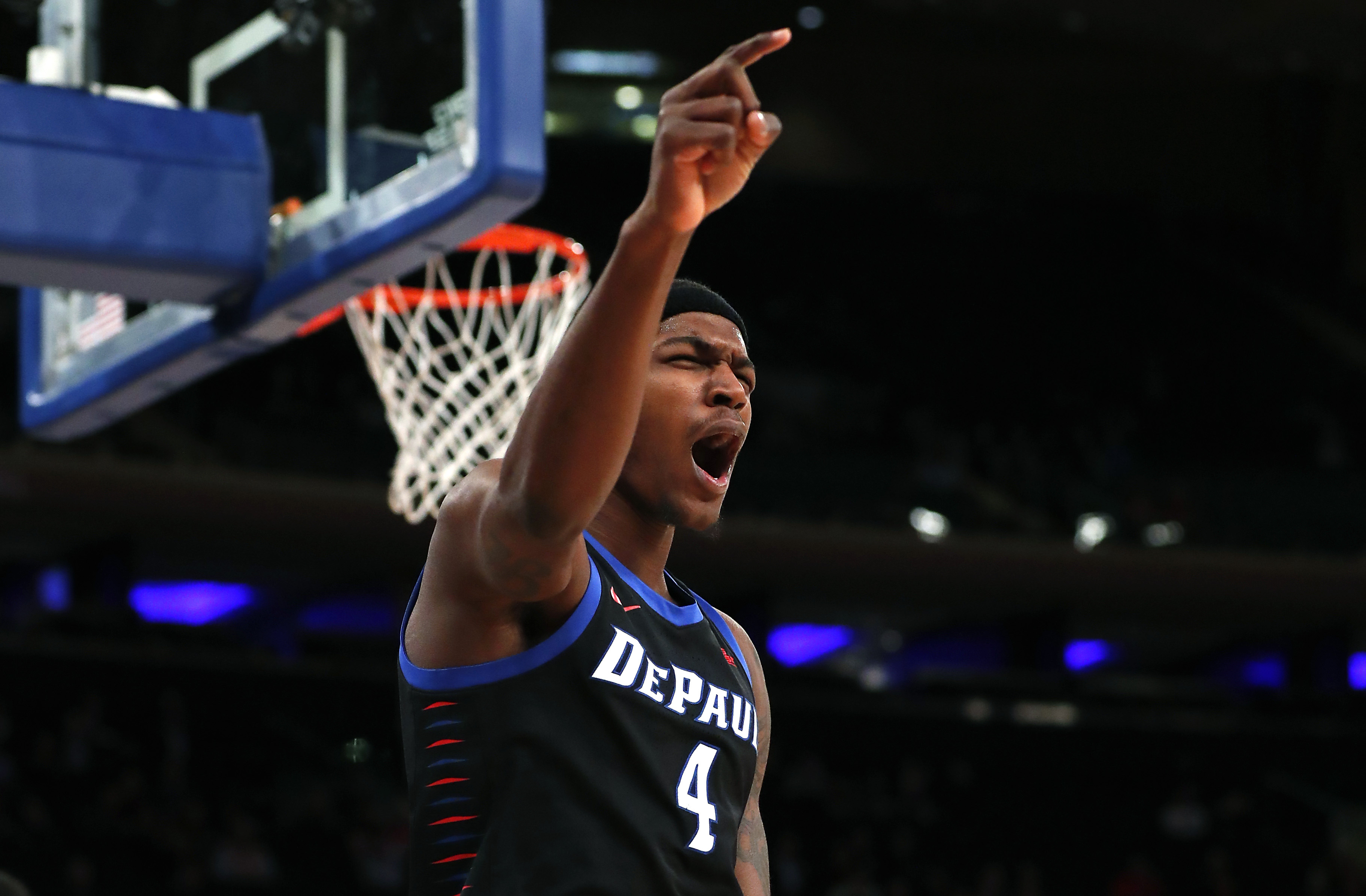 Mar 11, 2020; New York, New York, USA; DePaul Blue Demons forward Paul Reed (4) reacts after scoring against the Xavier Musketeers during the second half of Big East tournament at Madison Square Garden. Mandatory Credit:
