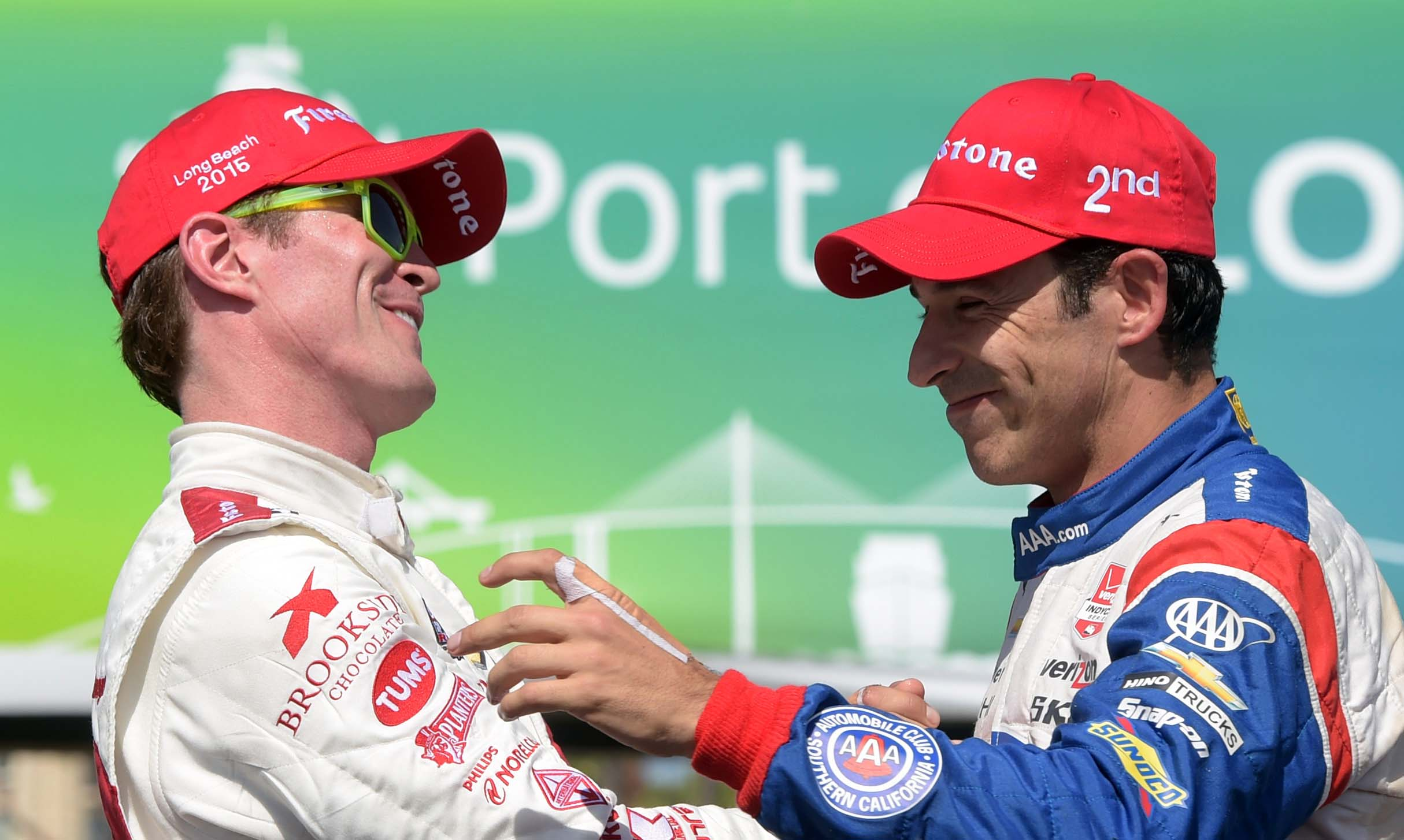 Scott Dixon (left) and Helio Castroneves are among the favorites at the Grand Prix of Alabama. (Kirby Lee, USA TODAY Sports)