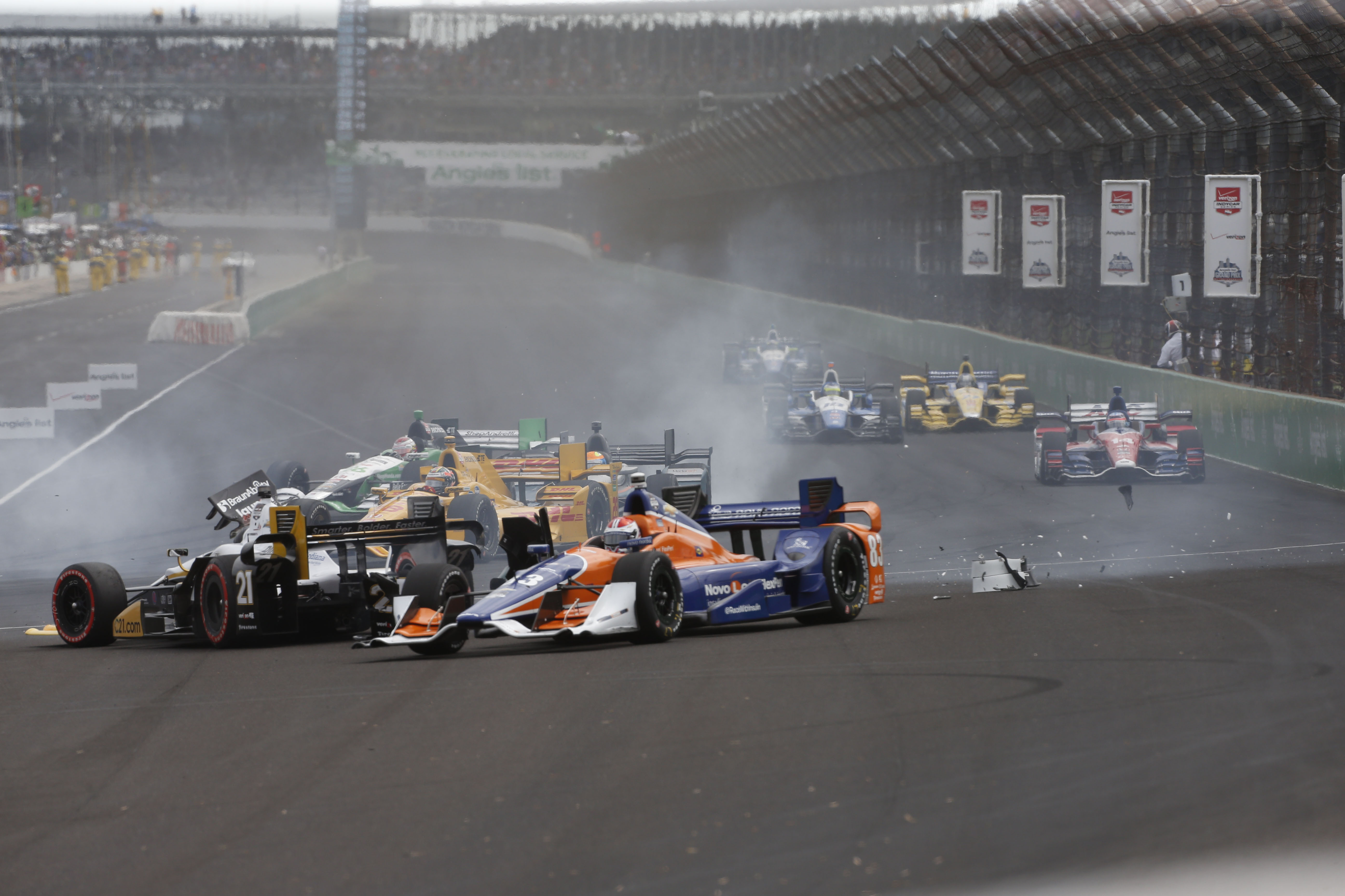Several IndyCars are involved in a Lap 1, Turn 1 crash during the Grand Prix of Indianapolis (Brian Spurlock, USA TODAY Sports)