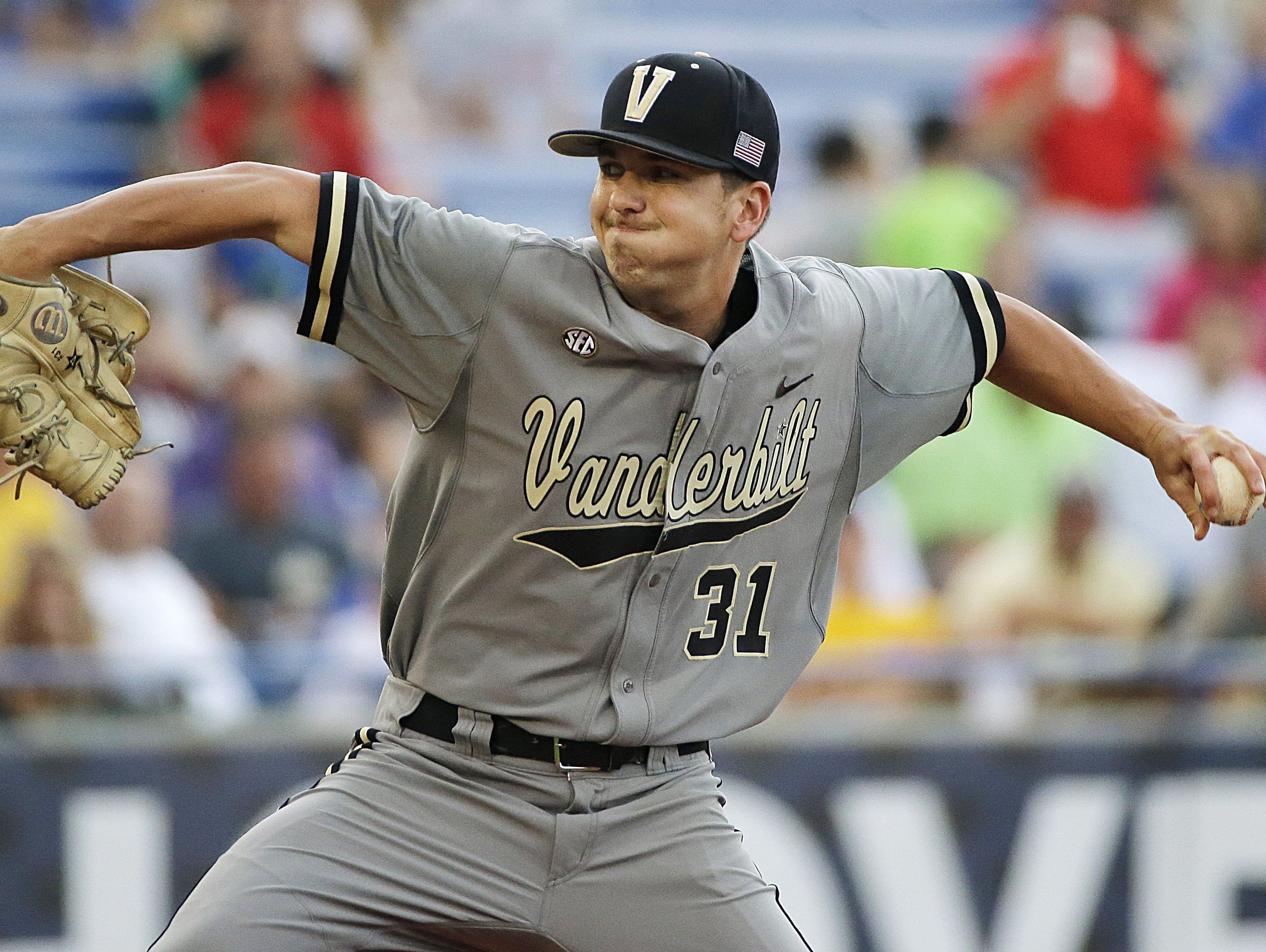 Vanderbilt pitcher Ryan Johnson delivers against Florida during the first inning of a SEC tournament championship game Sunday, May 24, 2015, in Hoover, Ala.