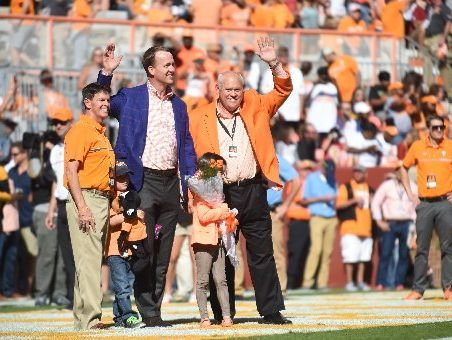 Peyton Manning salute for College Football Hall of Fame