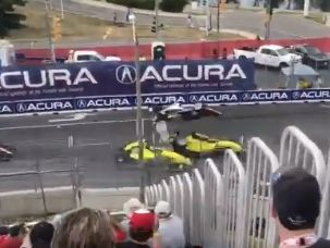 A fan in the stands for the Pro Mazda race on the streets of Toronto captured Harrison Scott's scary airborne crash during Saturday's racae