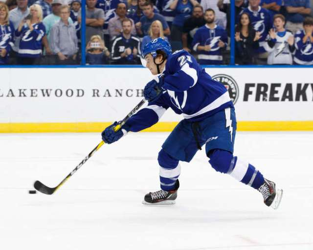 TAMPA, FL - OCTOBER 18: Brayden Point #21 of the Tampa Bay Lightning shoots the puck for the game winning shootout goal against the Florida Panthers at Amalie Arena on October 18, 2016 in Tampa, Florida. (Photo by Scott Audette/NHLI via Getty Images)