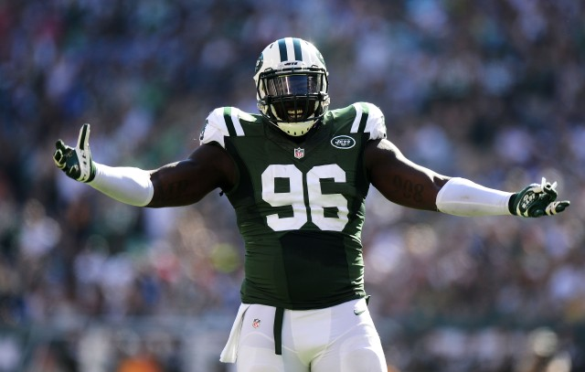 EAST RUTHERFORD, NJ - SEPTEMBER 28: Muhammad Wilkerson #96 of the New York Jets reacts during their game against the Detroit Lions at MetLife Stadium on September 28, 2014 in East Rutherford, New Jersey. (Photo by Ron Antonelli/Getty Images)