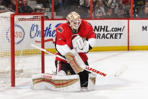 OTTAWA, ON - APRIL 5: Andrew Hammond #30 of the Ottawa Senators makes a save against the Pittsburgh Penguins at Canadian Tire Centre on April 5, 2016 in Ottawa, Ontario, Canada. (Photo by Jana Chytilova/Freestyle Photography/Getty Images)