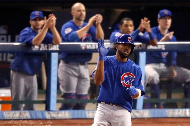 CLEVELAND, OH - NOVEMBER 02: Dexter Fowler #24 of the Chicago Cubs reacts after hitting a single during the fifth inning against the Cleveland Indians in Game Seven of the 2016 World Series at Progressive Field on November 2, 2016 in Cleveland, Ohio. (Photo by Gregory Shamus/Getty Images)