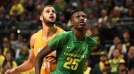 EUGENE, OR - NOVEMBER 17: Chris Boucher #25 of the Oregon Ducks battles for position under the basket with Shane Hammink #11 of the Valparaiso Crusaders  in the second half of the game at Matthew Knight Arena on November 17, 2016 in Eugene, Oregon. Oregon won the game 76-54. (Photo by Steve Dykes/Getty Images)