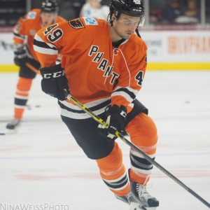 Scott Laughton skates during his conditioning assignment in Lehigh Valley (Photo provided to Flyzette by Nina Weiss)