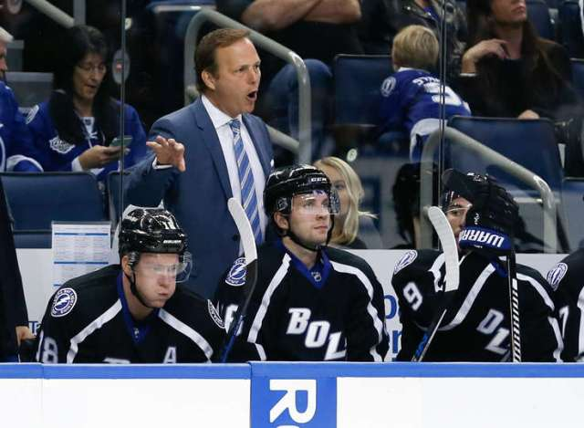 TAMPA, FL - NOVEMBER 25: Head Coach Jon Cooper of the Tampa Bay Lightning directs his team from the bench during the third period against the Columbus Blue Jackets at Amalie Arena on November 25, 2016 in Tampa, Florida. (Photo by Mark LoMoglio/NHLI via Getty Images)