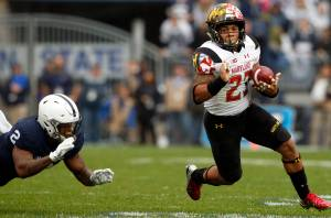 Maryland's Lorenzo Harrison (23) gets past Penn State's Marcus Allen (2) during the first half of an NCAA college football game in State College, Pa., Saturday, Oct. 8, 2016. Penn State won the game 38-14. (AP Photo/Chris Knight)
