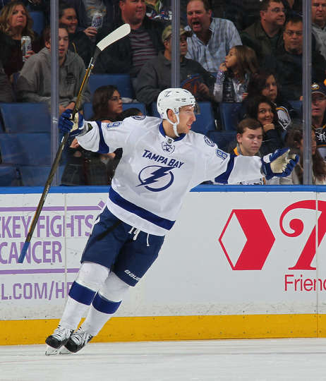 BUFFALO, NY - NOVEMBER 17: Nikita Nesterov #89 of the Tampa Bay Lightning celebrates his first period goal against the Buffalo Sabres during an NHL game at the KeyBank Center on November 17, 2016 in Buffalo, New York. (Photo by Bill Wippert/NHLI via Getty Images)