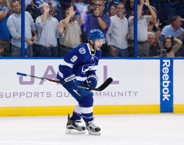 TAMPA, FL - NOVEMBER 3: Tyler Johnson #9 of the Tampa Bay Lightning celebrates his goal against the Boston Bruins during the third period at Amalie Arena on November 3, 2016 in Tampa, Florida. (Photo by Scott Audette/NHLI via Getty Images)
