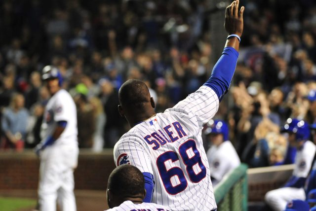 CHICAGO, IL - APRIL 13: Jorge Soler #68 of the Chicago Cubs waves to the fans after hitting a two-run homer against the Cincinnati Reds during the eighth inning on April 13, 2015 at Wrigley Field in Chicago, Illinois. (Photo by David Banks/Getty Images)