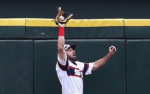 CHICAGO, IL - APRIL 30: Adam Eaton #1 of the Chicago White Sox makes a catch in the 1st inning on a fly ball hit by Torii Hiunter of the Detroit Tigers at U.S. Cellular Field on April 30, 2014 in Chicago, Illinois. (Photo by Jonathan Daniel/Getty Images)