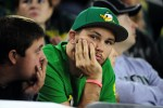 EUGENE, OR - SEPTEMBER 26: An Oregon Ducks fan sits in the stands as the time winds down in the third quarter of the game between the Oregon Ducks and the Utah Utes at Autzen Stadium on September 26, 2015 in Eugene, Oregon. (Photo by Steve Dykes/Getty Images)