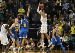 EUGENE, OR - DECEMBER 28: Dillon Brooks #24 of the Oregon Ducks hits the game winning shot over Lonzo Ball #2 and Bryce Alford #20 of the UCLA Bruins on December 28, 2016 at Matthew Knight Arena in Eugene, Oregon. (Photo by Steve Dykes/Getty Images)