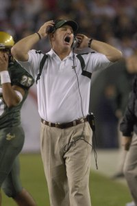 TAMPA, FL - NOVEMBER 17: Coach Jim Leavitt of the University of South Florida Bulls reacts to a play against the Louisville Cardinals at Raymond James Stadium on November 17, 2007 in Tampa, Florida. South Florida won 55-17. (Photo by Al Messerschmidt/Getty Images)