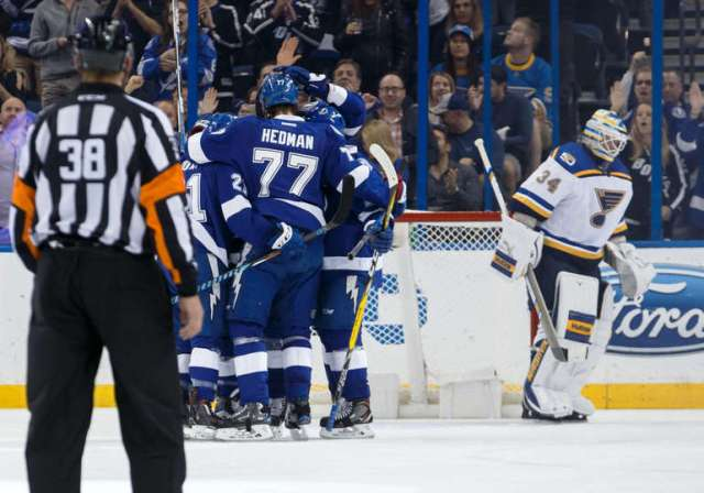 TAMPA, FL - DECEMBER 22: The Tampa Bay Lightning celebrate a goal by <a rel=