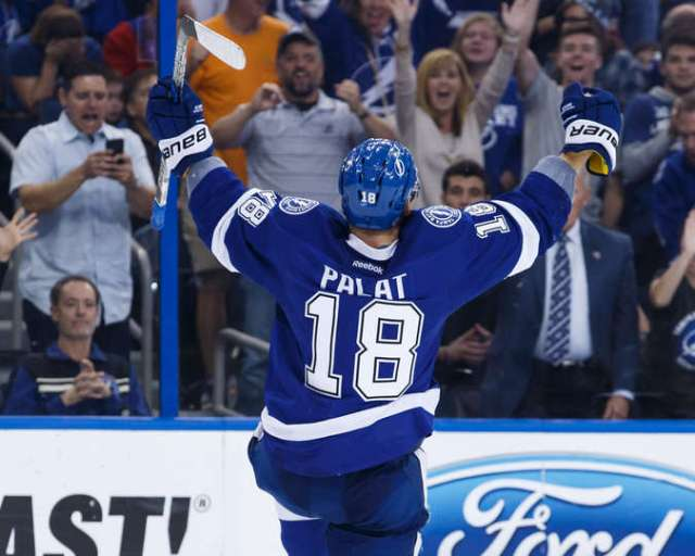 TAMPA, FL - DECEMBER 28: Ondrej Palat #18 of the Tampa Bay Lightning celebrates his game tying goal against the Montreal Canadiens during third period at Amalie Arena on December 28, 2016 in Tampa, Florida. (Photo by Scott Audette/NHLI via Getty Images)